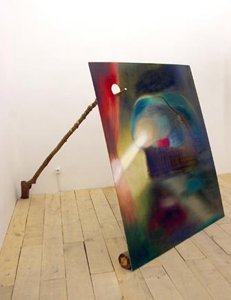 Sin título, 2007. Acrílico y óleo sobre tabla y rama de árbol