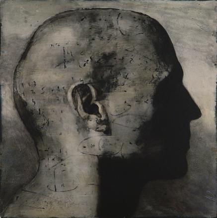 Aun no escribes por que sí. Técnica mixta sobre hierro, 150 x 150 cm., 2006