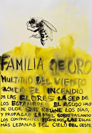 Familia de oro, mixta sobre papel, 100x80cm