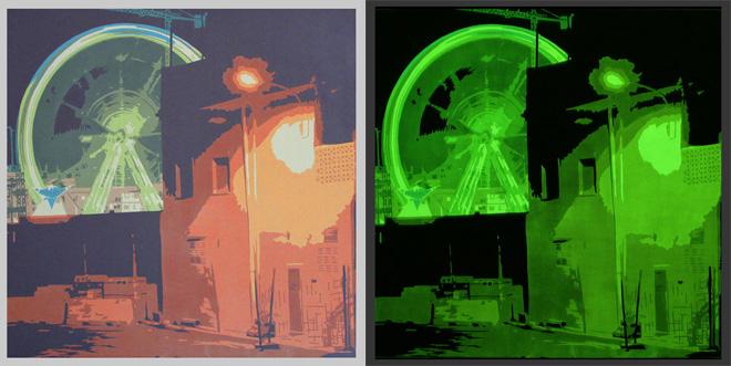 Obra fosforescente, vista a la luz y en completa oscuridad