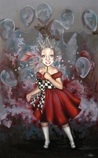 La máscara de la felicidad,Acrílico y óleo sobre tabla,55x90