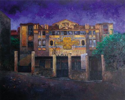 Tánger. Noche en el teatro Cervantes.Óleo-tela, 2001 | Ir a la ficha del Artista 'Consuelo Hernández'