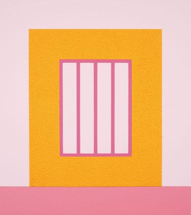 Orange Prison PHP 08 - H9, 2008. Acrílico Day Glo y Roll-a-Tex sobre lienzo