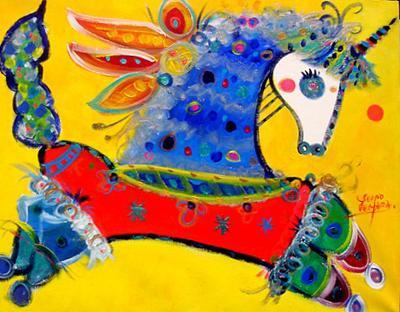 Galopando hacia los sueños...  Acríllico sobre tela  100x80 cms. | Ir a la ficha del Artista 'Sergio Vergara Arteaga'
