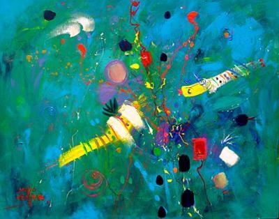Soñando en Voz Alta... Acrílico sobre tela  100x80 cms. | Ir a la ficha del Artista 'Sergio Vergara Arteaga'