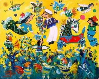 Familia Feliz  Acrílico sobre tela  100x80 cms. | Ir a la ficha del Artista 'Sergio Vergara Arteaga'