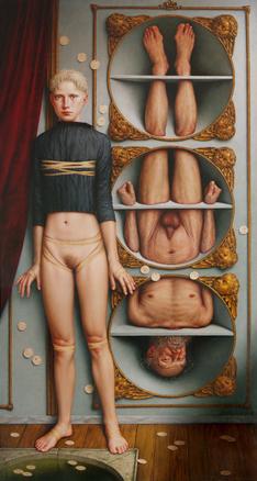 AD INFEROS  (2004) Óleo sobre tabla 150 x 80 cm