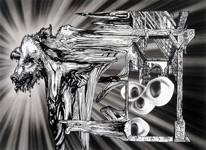 PERLEN VOR DIE SAU 2006 ACRYLIC SILICONE ON UNPRIMED COTTON CANVAS  270 X 370cm | Ir a la ficha del Artista 'Pablo Alonso Alonso'