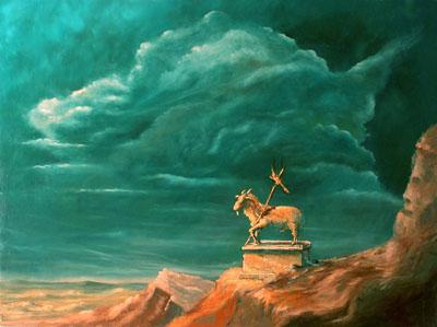 Paisaje con altar . óleo-tabla. 81x100 cm. 2001