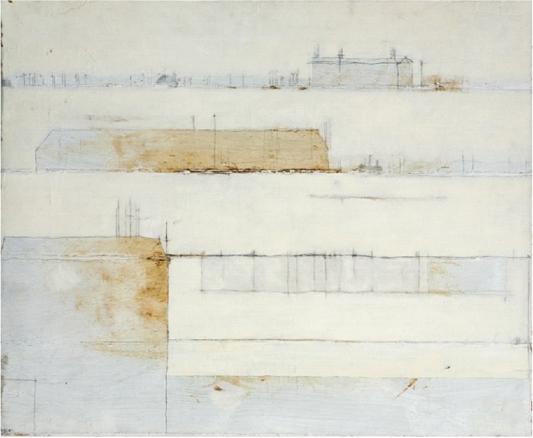 paisaje_de_conspiraciones,_2010. 50x61cm. Óleo y grafito sobre tela. | Ir a la ficha del Artista 'Abigail Aguirre Araújo'