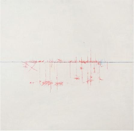 paisajes de valientes, 2010. Óleo y lápiz acuarelable sobre tela. 120x120cm | Ir a la ficha del Artista 'Abigail Aguirre Araújo'