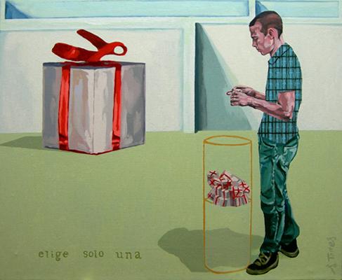 ELIGE SOLO UNA I, 2003. Óleo sobre lienzo. 50x60 cm | Ir a la ficha del Artista 'Salvador Torres'