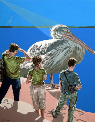 EL PELÍCANO SEDENTARIO, 2008. Óleo sobre lienzo. 146x114 cm.