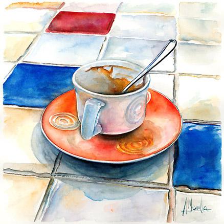 PINTURA: La acuarela Taza_de_Cafe__Acuarela_28_x_28_cm_