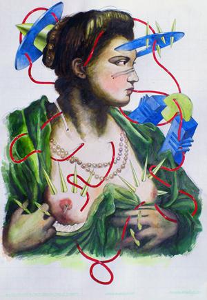 Dama que descubre el pecho, dibujo acuarela y grafito, papel, 50x70 cms. 2012