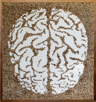 João Leonardo, Untitled Brain, 2011, Found cigarette filters and cigarette fil