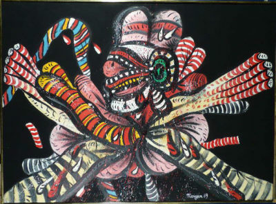 Personnage on Black Background, 1969. Acrílico sobre lienzo (97x158cm)