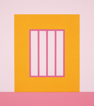 Orange Prison (PHP 08-H9), 2008. Acrílico, Day-Glo y Roll-a-Tex sobre lienzo. 114,3 x 101,6 cm.