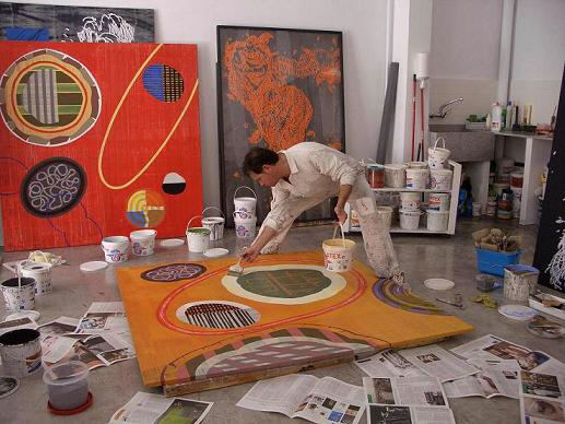 Jose Vicente en su taller de Valencia, agosto 2008