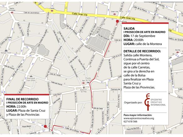 Mapa  del recorrido de la Procesion de Arte en Madrid