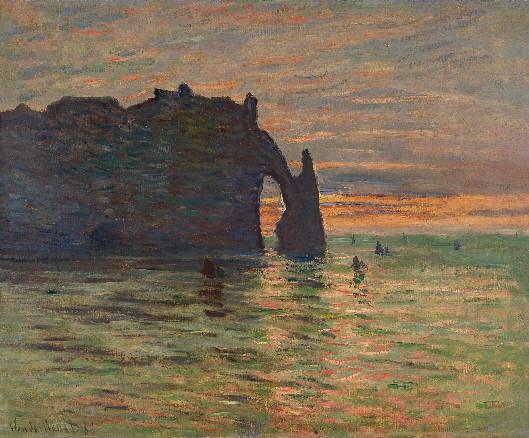 Claude Monet, Puesta de sol en Etretat, 1883