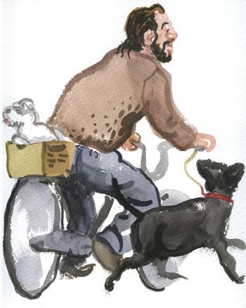 Gabriel Alonso, Ciclista con perros