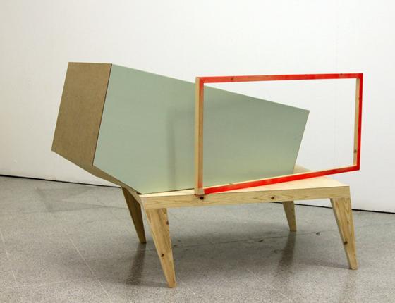 Sin título, 2011 poliestireno, madera, pintura sintética.  145x114x90 cm.
