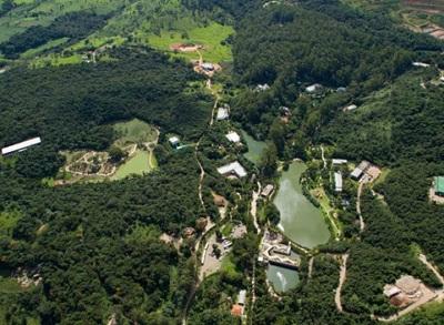 Vista aérea del Instituto Inhotim en Minas Gerais, Brasil