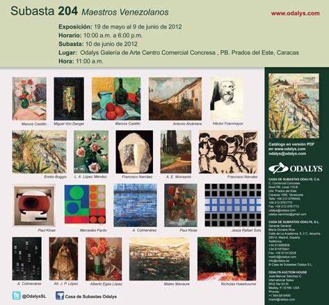 Subasta 204 Maestros Venezolanos