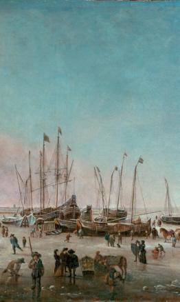 H. Jacobsz. Dubbels, El puerto de Ámsterdam en invierno -detalle-, ca.1656-60