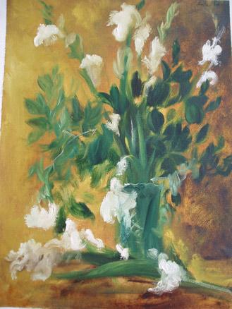 Pablo Aizoiala, Jarrón de cristal con gladiolos blancos, 1989