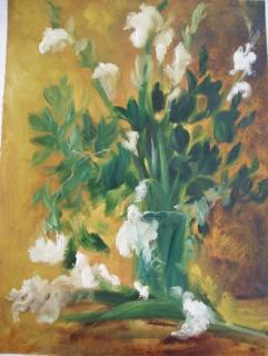 Pablo Aizoiala, Jarrón de cristal con gladiolos blancos, 1989 | Ir a la ficha del Artista 'Pablo Aizoiala'