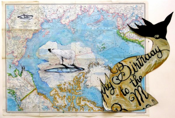 Luis Moro, Happy Birthday - Thaw. Mixed Media on Paper Map