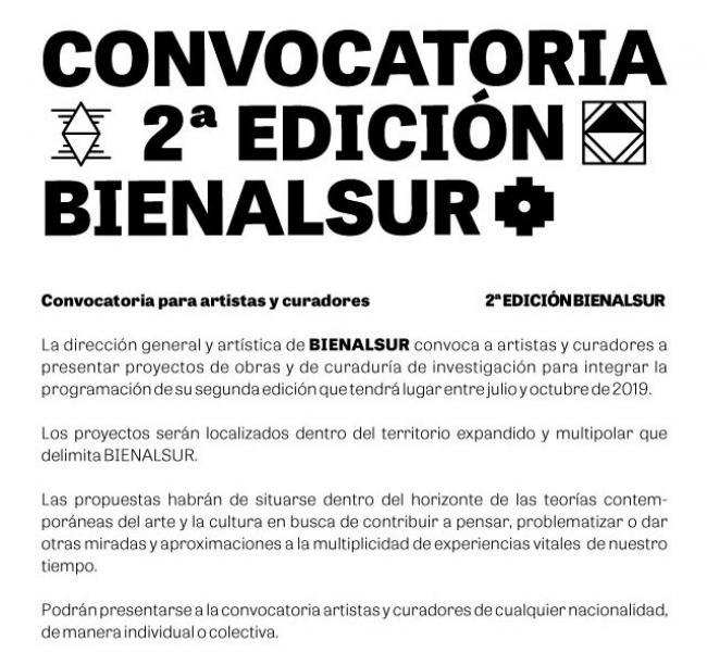 CONVOCATORIA ARTISTAS Y CURADORES BIENALSUR 2019. Imagen cortesía BIENALSUR