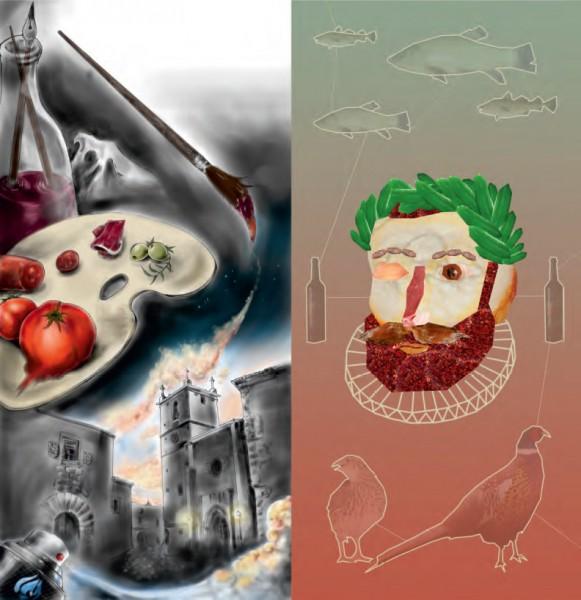 Belleza de sabores, Agustín Castro Terrón // Collage gastronómico, Tania de Azebedo Ribeiro (Ganadores diseño gráfico categorías A y B - 2015)