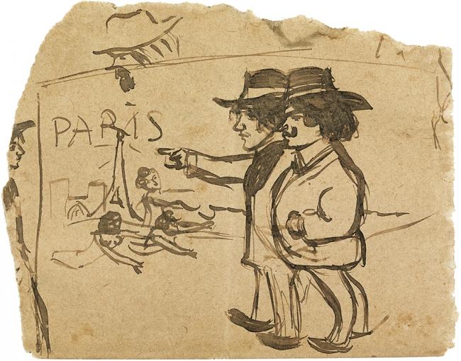 Pablo Picasso. 'Picasso i Manuel Pallarès contemplant la torre Eiffel'. Barcelona o París, 1900. Museu Picasso, Barcelona. Donació Pablo Picasso, 1970. Museu Picasso, Barcelona. Fotografia, Gasull Fotografia © Successió Pablo Picasso, VEGAP, Madrid 2018