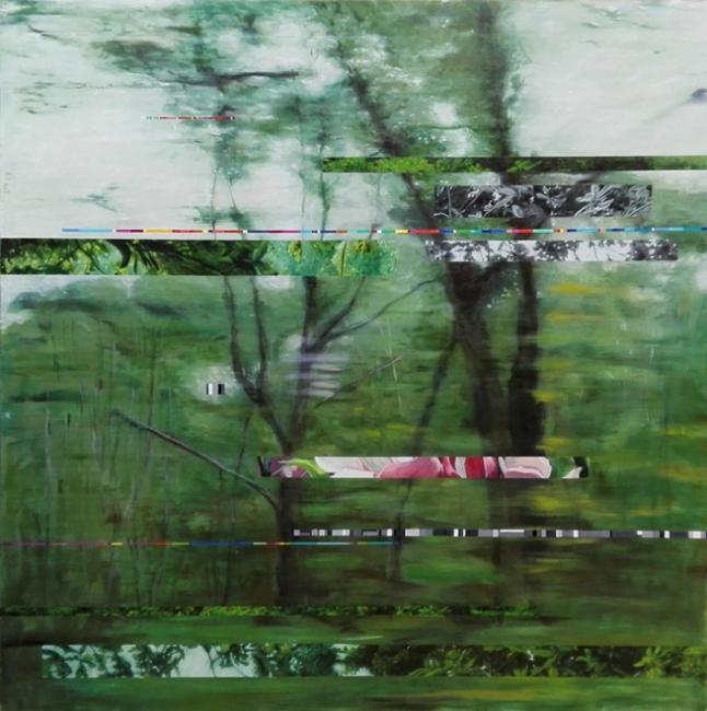 Rafa Rollón, Interferencias 01, 180x180. Óleo sobre lino – Cortesía de la galería Cornión
