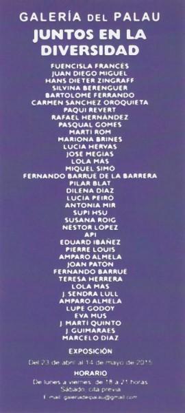 Artistas participantes | Ir al evento: 'Juntos en la diversidad'. Exposición de Escultura, Pintura en Galeria del Palau / Valencia, España