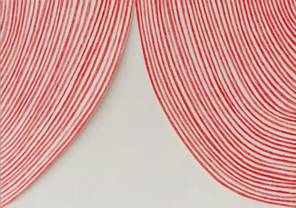 Sabine Finkenauer, Cortina. 2014, dibujo y collage sobre papel, 42x59 cm. | Ir al evento: 'A presence in the void'. Exposición en Rafael Pérez Hernando - Galería RPH / Madrid, España
