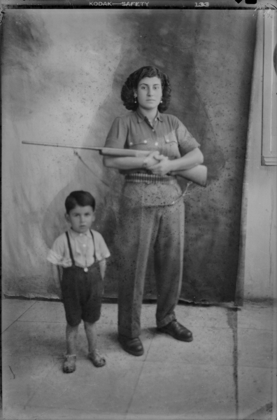 Untitled, Muhamad Orabi, Studio Photography, Tripoli, Lebanon, 1935-1939. Gelatin silver negative on cellulose acetate film, 14.8 x 9.8 cm. Mohsen Yammine Collection. Courtesy of the Arab Image Foundation, Beirut