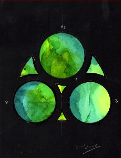 Joan Vila Grau, Estat Final- Capelles Absis 2CA 7-8-9, aquarel·la, 22 × 29,7 cm – Cortesía de la Sala Parés