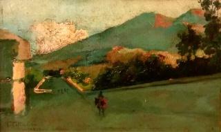 Tito Cittadini, paisaje de Mallorca, óleo sobre tabla, 16x26 cms.