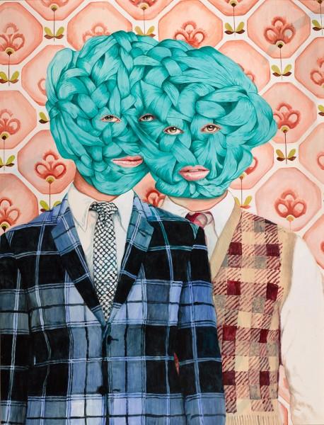 Ángeles Agrela, Retrato nº51 (Premio BMW de Pintura 2015), Acrílico y lápiz sobre papel entelado. Obra enmarcada con madera y metacrilato. 195x150cm.