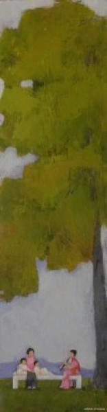 Valle Rivilla, Una nana en otoño. 62x17 cm. Técnica mixta sobre tabla