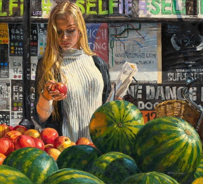 Michele del Campo, The apple, 100x110 cm., óleo sobre lino – Cortesía de la Galería Ansorena | Ir al evento: 'Michele del Campo'. Exposición de Pintura en Ansorena / Madrid, España