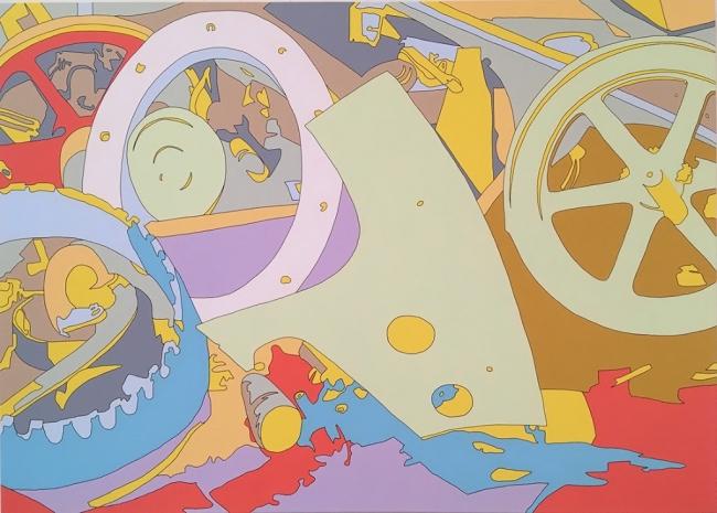 "Francis Ruyter, ""Ann Rosener: Salvage. Farm scrap..."", 2018, Acrylic on canvas, 100 x 140 cm. Cortesía de Galería Senda"