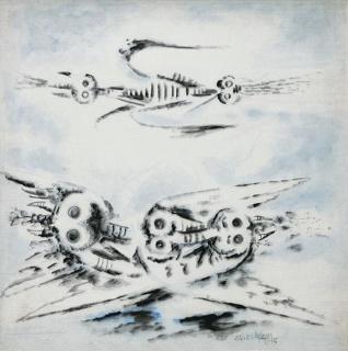 WIFREDO LAM Butinantes 1945 Oil on canvas 31 x 32 in. [78.7 x 81.3 cm.]. Imagen cortesía Nader Art Museum Latin America