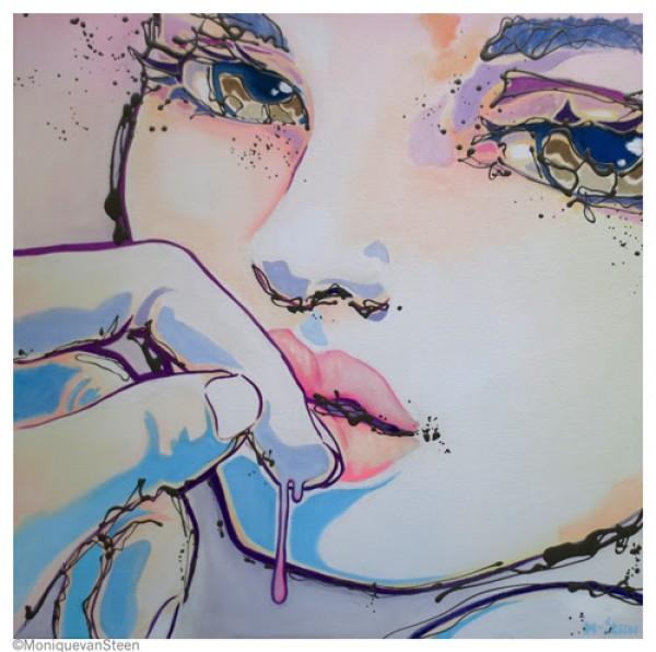 Hesitation 80x80cm Acrílico y esmalte sintético sobre lienzo