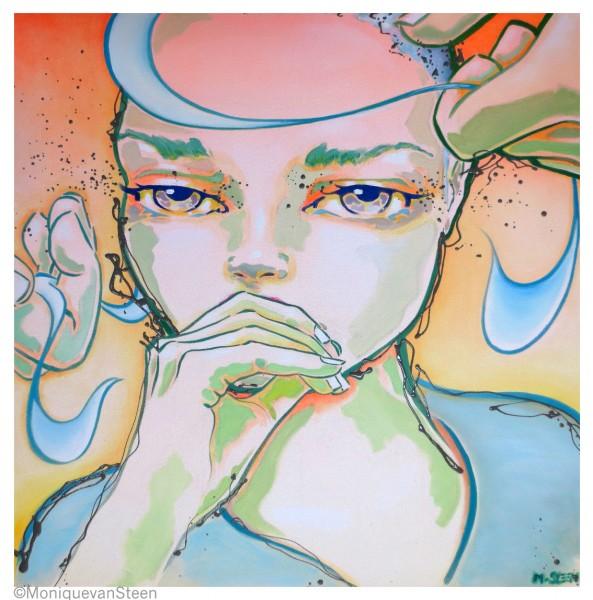 I only know that I don\'t know anything 80x80cm Acrílico y esmalte sintético sobre lienzo