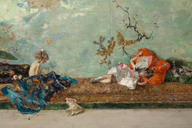 Detalle de Los hijos del pintor en el salón japonés de Mariano Fortuny. Museo Nacional del Prado.. Cortesía del Museo del Prado